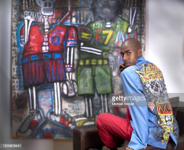 Ishimwe Manoa of Twin Flames Productions poses for a portrait at The Artists Project Giveback Day on May 28, 2021 in Los Angeles, California.