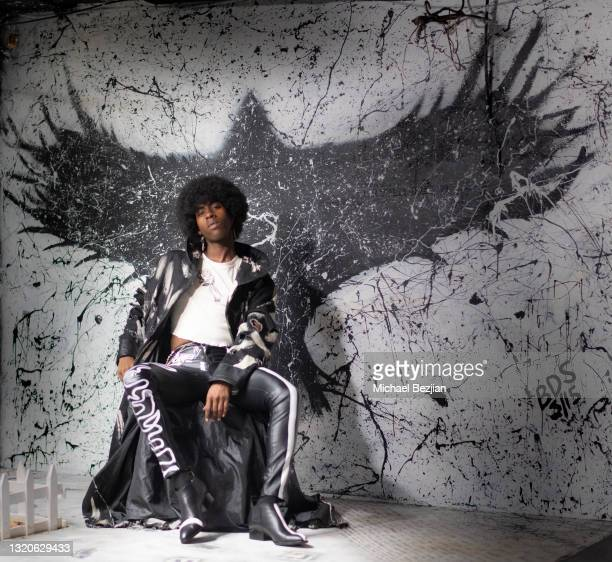 Ishimwe Manoa of Twin Flames Productions poses for a portrait in the Rabbit Hole at The Artists Project Giveback Day on May 28, 2021 in Los Angeles,...