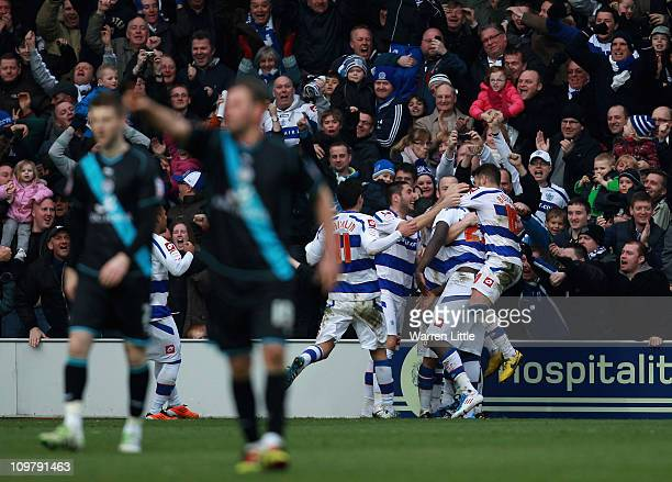 Ishmael Miller of Queens Park Rangers celebrates scoring a goal during the npower Championship match between Queens Park Rangers and Leicester City...
