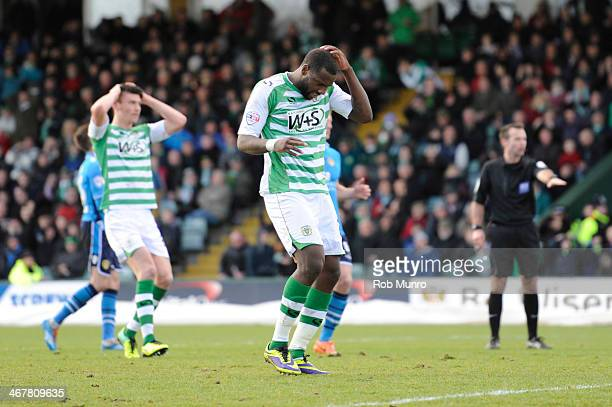 Ishmael Miller of Yeovil Town misses a penalty just before half time during the Sky Bet Championship match between Yeovil Town and Leeds United at...