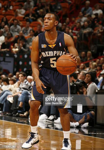 Ishmael Smith of the Memphis Grizzlies handles the ball during the game against the Miami Heat on March 12 2011 at American Airlines Arena in Miami...