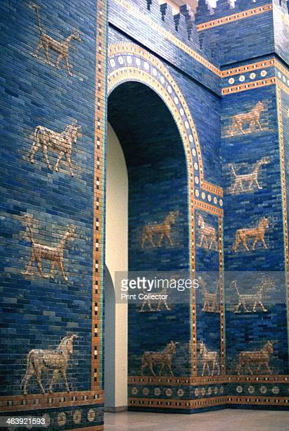 Ishtar Gate c575 BC Reconstruction in the Pergamon Museum Berlin of the eighth gate to the inner city of Babylon built by Nebuchadnezzar II in c575 BC