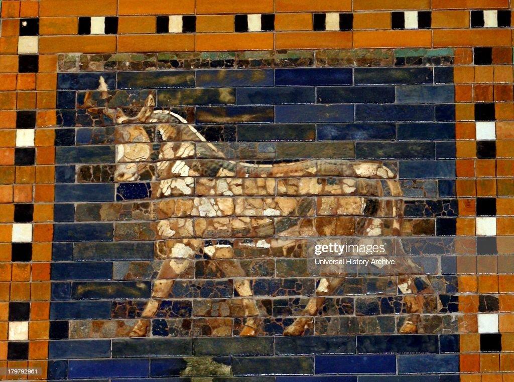 Ishtar Gates, Babylon plus details showing palms, lions and animals. : News Photo
