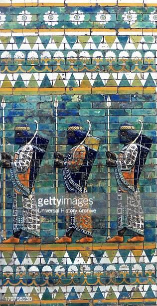 Ishtar Gates Babylon plus details showing palms lions and animals
