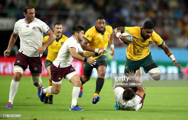Isi Naisarani of Australia is tackled during the Rugby World Cup 2019 Group D game between Australia and Georgia at Shizuoka Stadium Ecopa on October...