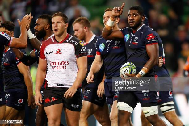 Isi Naisarani of the Rebels celebrates after scoring a try during the round six Super Rugby match between the Rebels and the Lions at on March 07,...