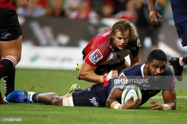 Isi Naisarani of the Rebels scores a try during the round six Super Rugby match between the Rebels and the Lions at on March 07, 2020 in Melbourne,...