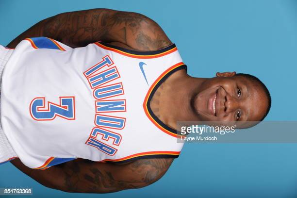 Isiah Canaan of the Oklahoma City Thunder poses for a portrait during 2017 NBA Media Day on September 25 2017 at the Chesapeake Energy Arena in...