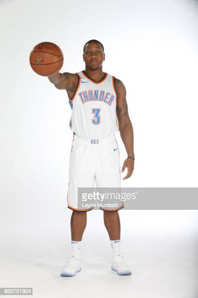Isiah Canaan of the Oklahoma City Thunder poses for a portrait during the 2017 NBA Media Day on September 25 2017 at the Chesapeake Energy Arena in...