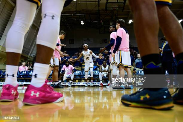 Isiah Deas of the La Salle Explorers is introduced before the game against the St Bonaventure Bonnies at Tom Gola Arena on February 13 2018 in...