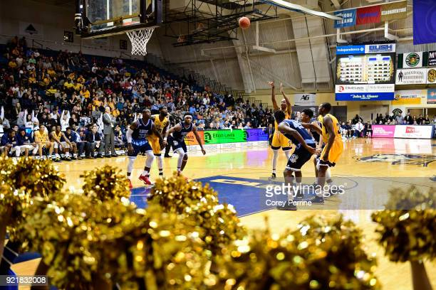 Isiah Deas of the La Salle Explorers shoots a free throw against the Rhode Island Rams during the second half at Tom Gola Arena on February 20 2018...