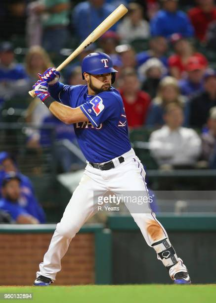 Isiah KinerFalefa of the Texas Rangers hits in the eight inning against the Seattle Mariners at Globe Life Park in Arlington on April 20 2018 in...