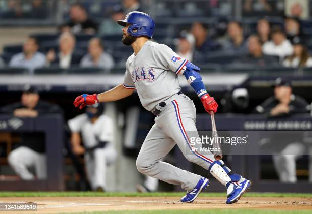 Isiah Kiner-Falefa of the Texas Rangers singles during the first inning against the New York Yankees at Yankee Stadium on September 20, 2021 in New...