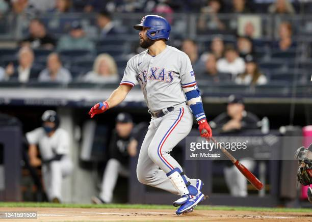 Isiah Kiner-Falefa of the Texas Rangers singles in the first inning against the New York Yankees at Yankee Stadium on September 20, 2021 in New York...