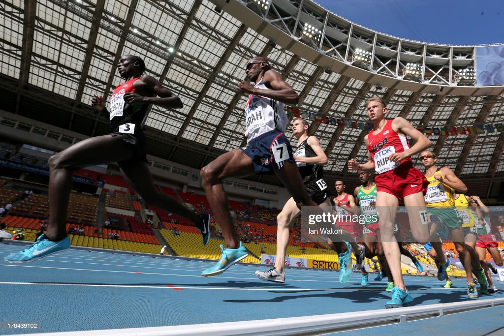 Isiah Kiplangat Koech of Kenya, Mo Farah of Great Britain and Galen Rupp of the United States compete during the Men's 5000 metres heats during Day Four of the 14th IAAF World Athletics Championships Moscow 2013 at Luzhniki Stadium on August 13, 2013 in Moscow, Russia.
