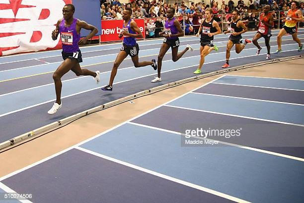 Isiah Koech of Kenya leads in the Mens 3000 meter during the New Balance Indoor Grand Prix at Reggie Lewis Center on February 14 2016 in Boston...