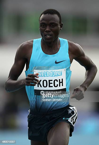 Isiah Koech of Kenya runs to victory in the men's 5000 metres open during the IAAF Melbourne World Challenge at Olympic Park on March 22 2014 in...
