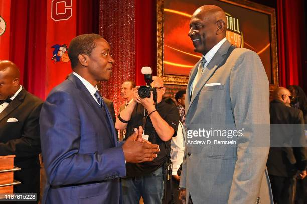 Isiah Thomas and Spencer Haywood talk during the 2019 Basketball Hall of Fame Enshrinement Ceremony on September 6, 2019 at Symphony Hall in...