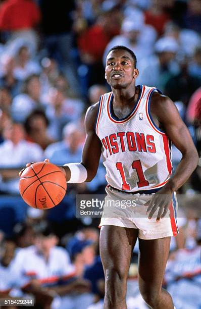 Isiah Thomas, Detroit Pistons guard in action.