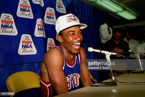 Isiah Thomas of the Detoit Pistons laughs during the Postgame Press Conference following Game five of the NBA Finals The Detroit Pistons defeated the...