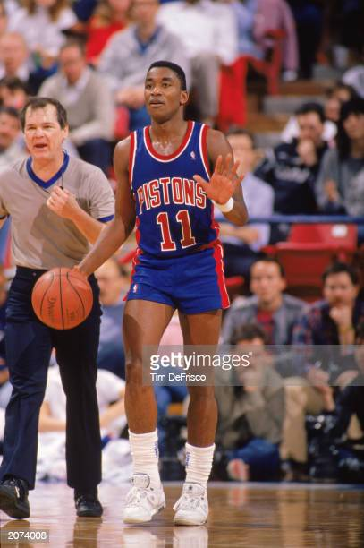 Isiah Thomas of the Detroit Pistons advances the ball during a game in the 19881989 NBA season