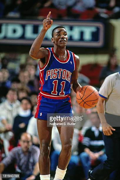 Isiah Thomas of the Detroit Pistons dribbles against the New York Knicks circa 1989 at Madison Square Garden in New York City NOTE TO USER User...