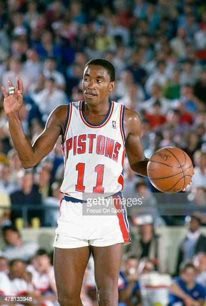 Isiah Thomas of the Detroit Pistons dribbles the ball during an NBA basketball game circa 1987 at The Pontiac Silverdome in Pontiac Michigan Thomas...