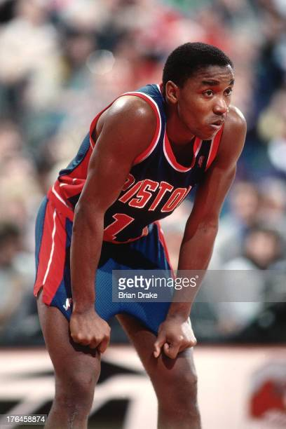 Isiah Thomas of the Detroit Pistons looks on during a game against the Portland Trail Blazers played circa 1987 at the Veterans Memorial Coliseum in...