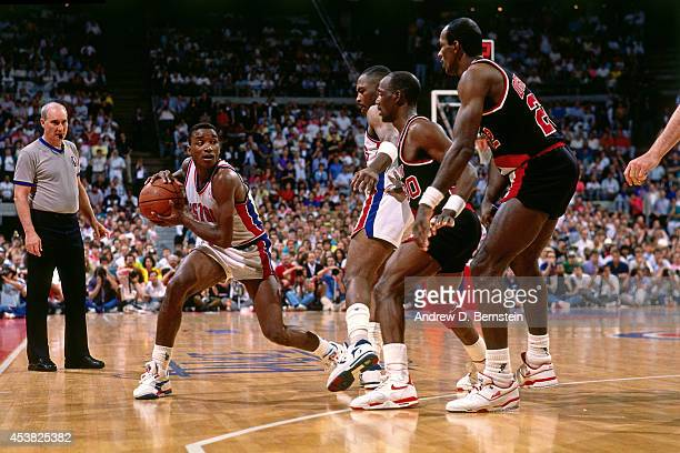 Isiah Thomas of the Detroit Pistons passes the ball during the 1990 NBA Finals circa 1990 at the Palace of Auburn Hills in Auburn Hills Michigan NOTE...