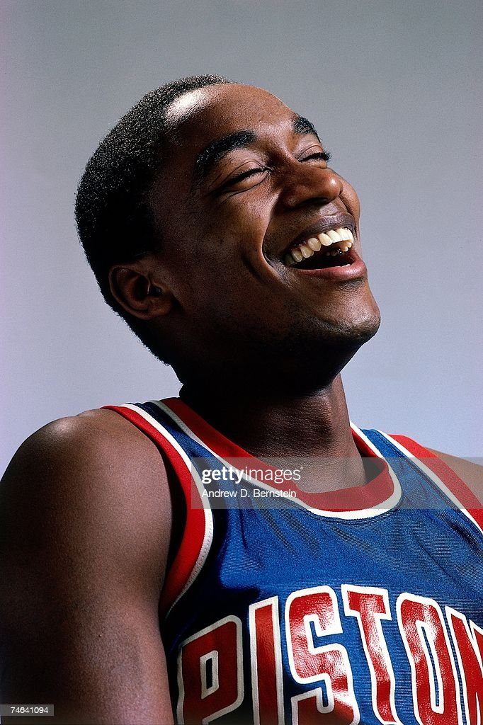Isiah Thomas #11 of the Detroit Pistons poses for a 1985 portrait.
