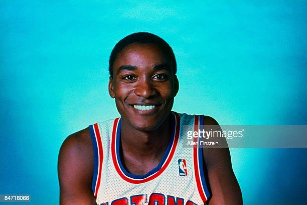Isiah Thomas of the Detroit Pistons poses for a portrait at The Pontiac Silverdome in 1987 in Pontiac Michigan NOTE TO USER User expressly...
