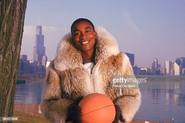Isiah Thomas of the Detroit Pistons poses in his street clothes circa 1987 in Chicago Illinois