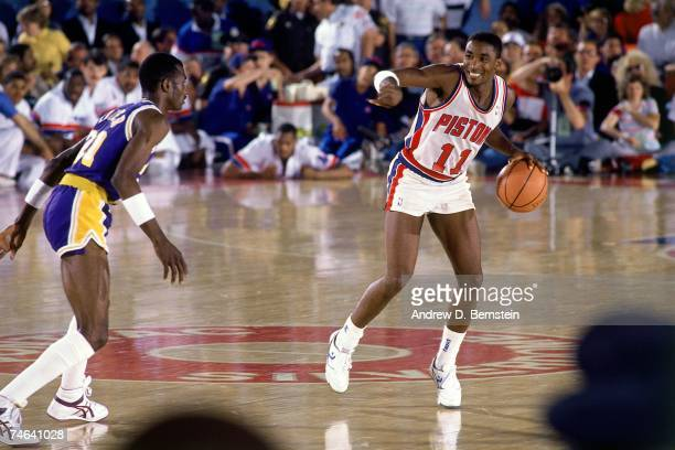 Isiah Thomas of the Detroit Pistons runs the offense against the Los Angeles Lakers during a 1987 NBA game at the Palace of Auburn Hills in Detroit...