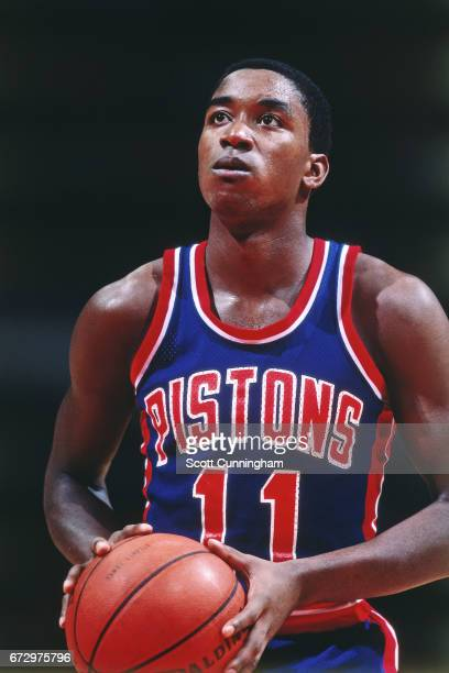 Isiah Thomas of the Detroit Pistons shoots against the Atlanta Hawks during a game played circa 1990 at the Omni in Atlanta Georgia NOTE TO USER User...