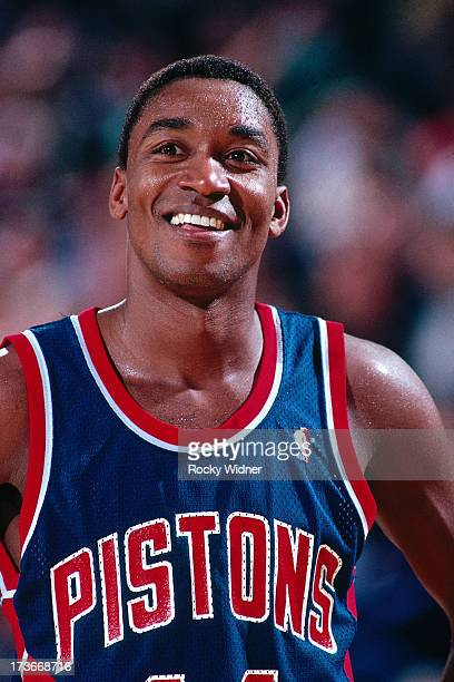 Isiah Thomas of the Detroit Pistons smiles during a game against the Sacramento Kings played on February 23 1988 at Arco Arena in Sacramento...