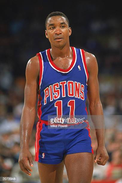 Isiah Thomas of the Detroit Pistons walks on the court during a game in the 19891990 NBA season