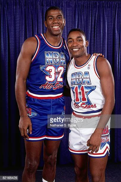Isiah Thomas of the Eastern Conference AllStars poses for a portrait with Earvin 'Magic' Johnson of the Western Conference after the NBA AllStar game...