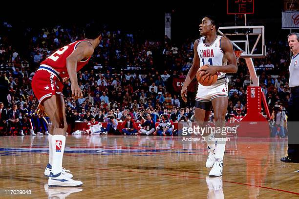 Isiah Thomas of the Eastern Conference driibles the ball during the 1988 NBA AllStar Game on February 7 1988 at the Chicago Stadium Chicago Illinois...