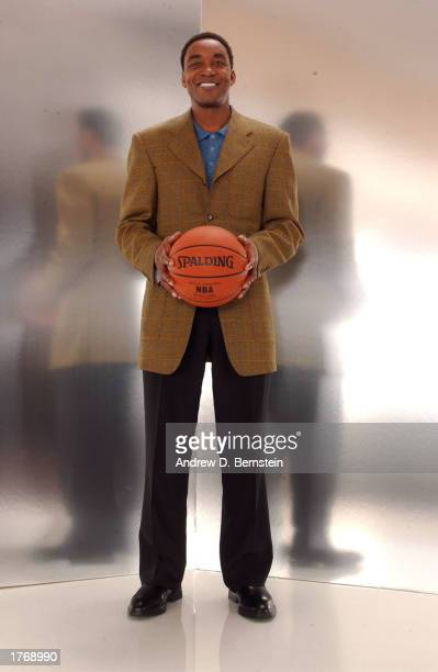 Isiah Thomas of the Indiana Pacers poses for a media day portrait during the 2003 NBA AllStar weekend at the Hyatt Regency Hotel on February 7 2003...