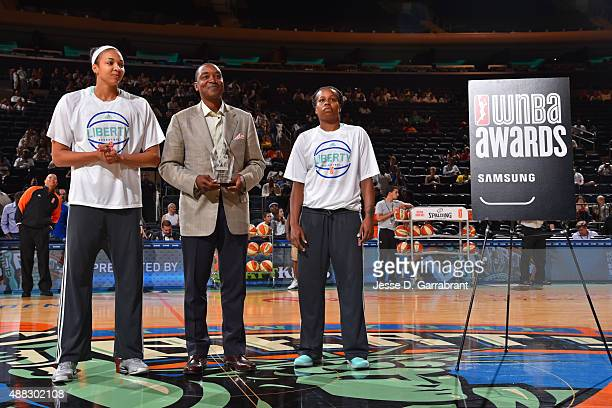 Isiah Thomas President of the New York Liberty presents Kiah Stokes of the New York Liberty was named the WNBA Rookie of the Month presented by...