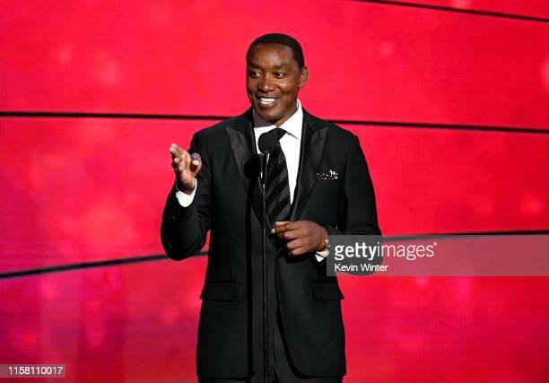 Isiah Thomas speaks onstage during the 2019 NBA Awards presented by Kia on TNT at Barker Hangar on June 24 2019 in Santa Monica California