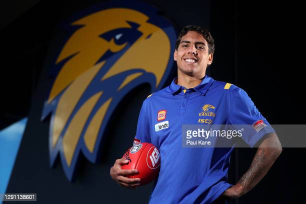 Isiah Winder of the Eagles poses for a portrait during a West Coast Eagles AFL media session at Mineral Resources Park on December 14, 2020 in Perth,...