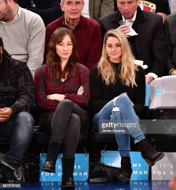 Isidora Goreshter and Shailene Woodley attend the Memphis Grizzlies Vs New York Knicks game at Madison Square Garden on December 6 2017 in New York...