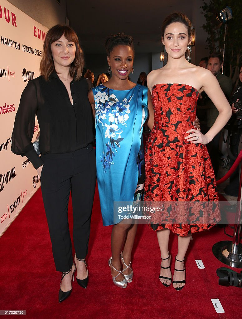 Isidora Goreshter, Shanola Hampton and Emmy Rossum attend a screening and panel discussion with The Women Of Showtime's 'Shameless' at The London Hotel on March 22, 2016 in West Hollywood, California.