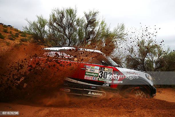Isidre Esteve of Spain and Mitsubishi DKR Raid drives with codriver Txema Villalobos of Spain in the Proto ARC Mitsubishi car in the Classe T1S...