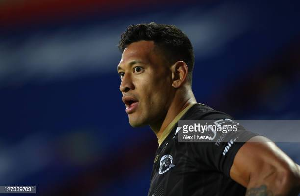Isileli Folau of Catalans Dragons looks on during the Coral Challenge Cup Quarter Final match between Catalans Dragons and Salford Red Devils at...