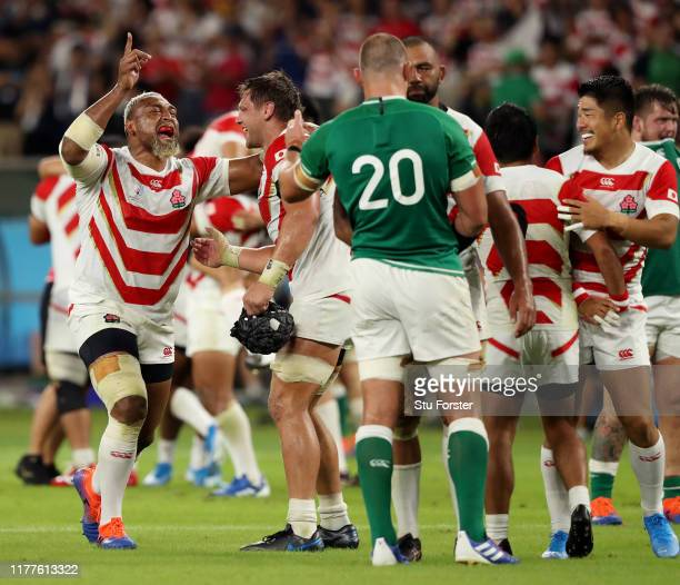 Isileli Nakajima of Japan celebrates his side's victory in the Rugby World Cup 2019 Group A game between Japan and Ireland at Shizuoka Stadium Ecopa...