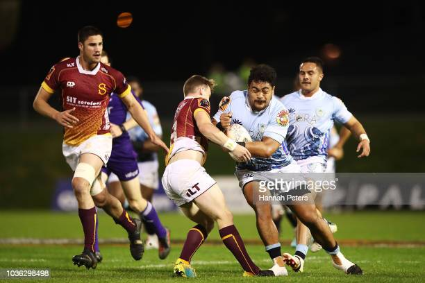 Isileli Tu'ungafasi of Northland charges forward during the round six Mitre 10 Cup match between Northland and Southland at Toll Stadium on September...