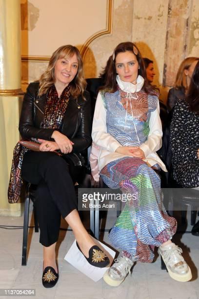 Isin Gormus and Nil Karaibrahimgil attend the Asli Filinta show during MercedesBenz Fashion Week Istanbul March 2019 at Zorlu Center on March 20 2019...