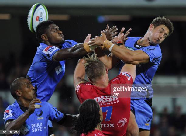 TOPSHOT Isireli Naisarani from Western Force loses the ball during the Super Rugby match between Australias Western Force and South Africas Lions in...